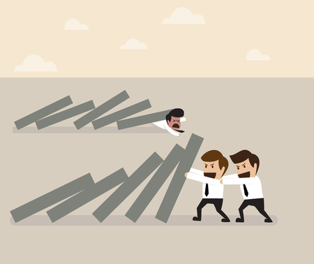 domino effect: Vector cartoon of Two businessmen helping together to prevent domino falling