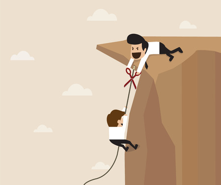betray: Vector cartoon of Man trying to cut climbing rope Illustration