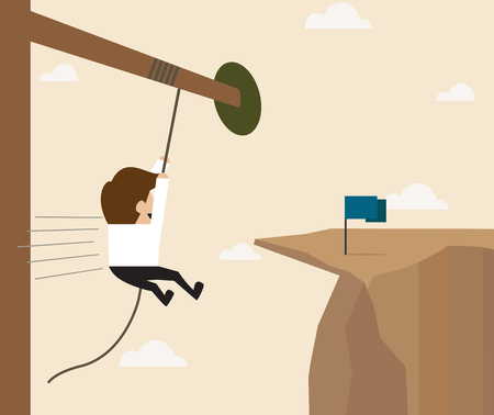 hard way: Vector cartoon of Businessman hanging on the rope reaching to the goal Illustration