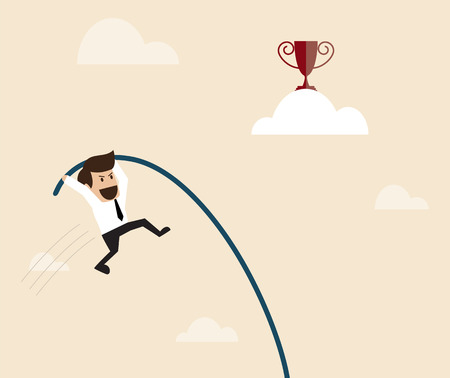 pole vault: Vector cartoon of Businessman is jumping with pole vault to the target