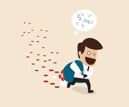 careless: Vector cartoon of Businessman Loss money during carrying because of careless