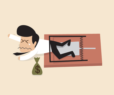 suffering: Vector cartoon of Businessman is caught by a mouse trap
