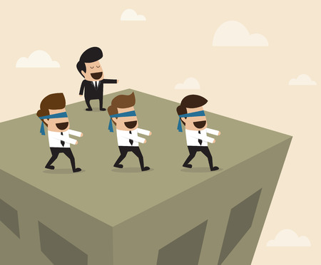 Vector cartoon of Boss leads employees to the wrong way Illustration