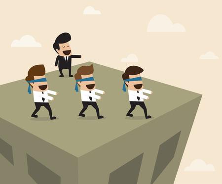 Vector de dibujos animados del jefe lleva a los empleados a la manera incorrecta