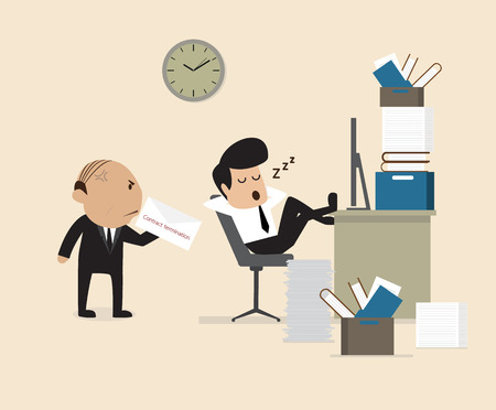 Vector cartoon of Boss see Employee fall assleep during working Vector