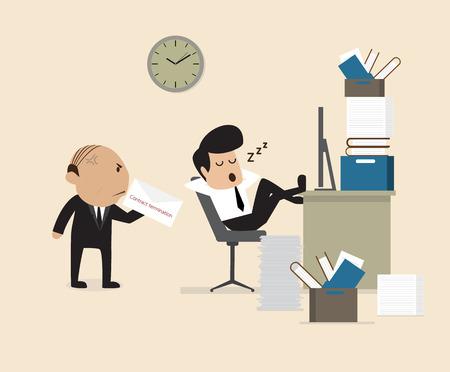 ergonomie: Vector Cartoon von Boss siehe Mitarbeiter fallen assleep w�hrend der Arbeitszeit Illustration