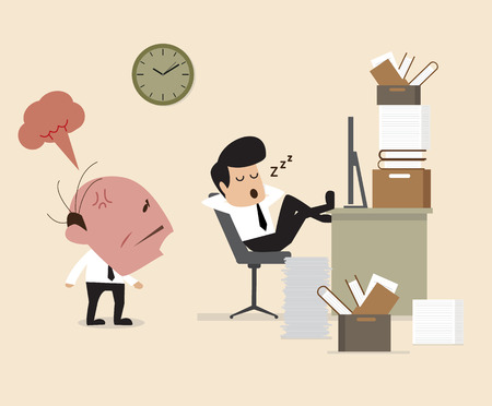 man with laptop: Vector cartoon of Boss see Employee fall assleep during working