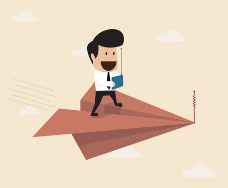 excitation: Vector cartoon of Businessman fly with remote control paper plane