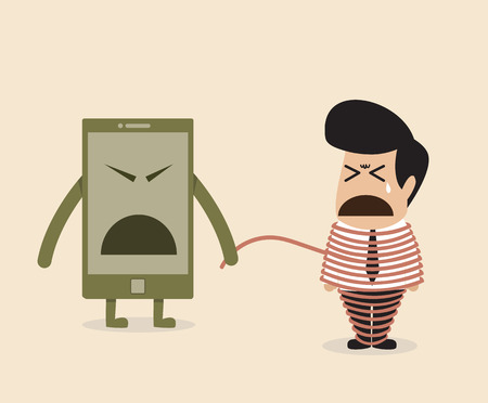 fifth: Vector cartoon of Employee life is depended on fifth factor (technology)
