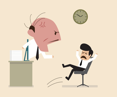 boss and employee: Angry Boss is shouting to his employee via online connection
