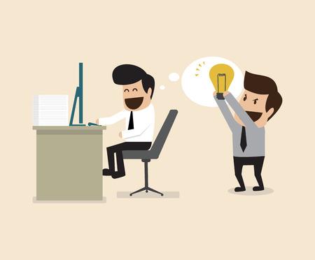 plundering: Vector cartoon van de zakenman steelt idee van een andere man