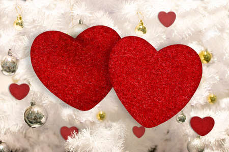 Two red heart on beautiful background for greeting card and wedding card decoration. Valentines day concept.