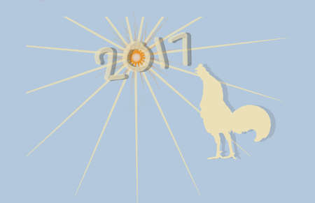 2017 Happy new year concept for rooster year with blue background. Stock Photo