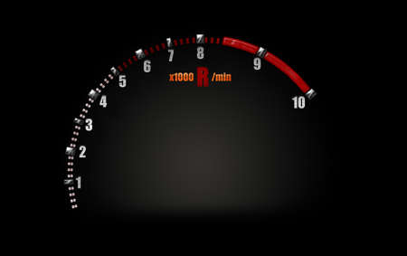 rev counter: Tachometer symbol in racing car on a black color background. Stock Photo