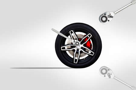 3D illustration. Repairing wheel concept. Wheel of racing car with modify. Copy space and Clipping path.