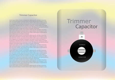 Trimmer capacitor diagram and text information pattern on glass banner,vector illustration design,eps10.