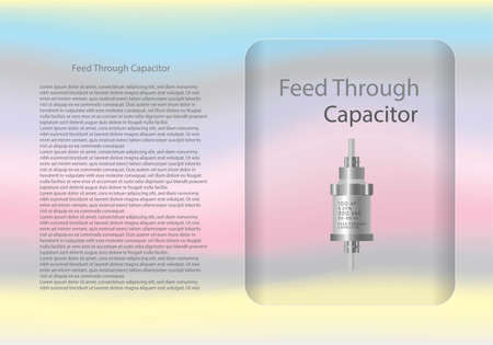 Feed Through capacitor diagram and text information pattern on glass banner,vector illustration design,eps10.