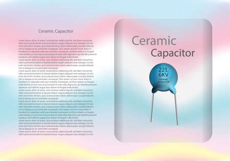 Ceramic capacitor diagram and text information pattern on glass banner,vector illustration design,eps10. Иллюстрация