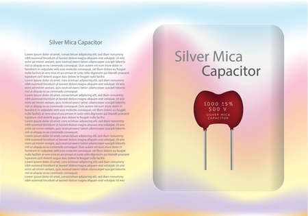 Silver maica capacitor diagram and text information pattern on glass banner,vector illustration design,eps10. 向量圖像