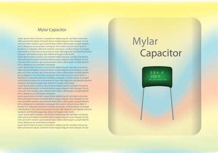 Mylar capacitor diagram and text information pattern on glass banner,vector illustration design,eps10. Vettoriali