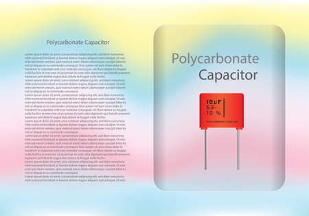 Polycarbonate capacitor diagram and text information pattern on glass banner,vector illustration design,eps10.