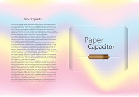 Paper capacitor diagram and text information pattern on glass banner,vector illustration design,eps10.