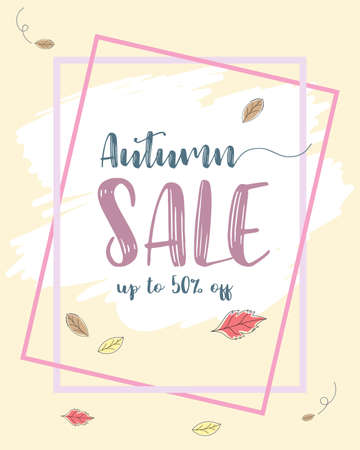 Autumn sale flyer template at discount up to 50% off,vector illustration design,eps10.