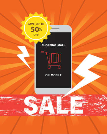 Online shopping mall on mobile at discount sale save up to 50% off, orange cart in mobile screen on a orange background,vector illustration design.