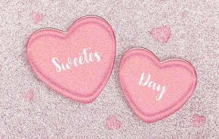 Happy Sweetest Day and Valentines Day concept, Pink jelly hearts on a white grass background. 版權商用圖片