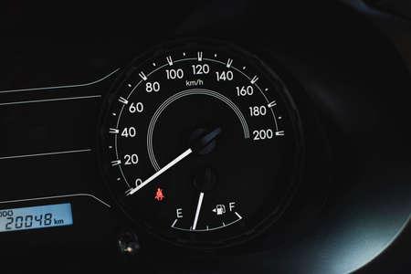 Car speedometer with kilometer per hour and fuel meter,fasten belt warning light. Reklamní fotografie