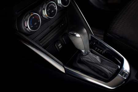 Automatic gear stick of auto transmission in a car. Stock Photo