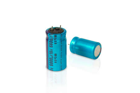 Electrolytic capacitor isolated on white background