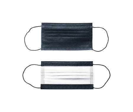 Front and back of surgical face mask with ear strap on white background 版權商用圖片