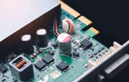 Electrolytic capacitor on electronic circuit board and component of computer video graphic card
