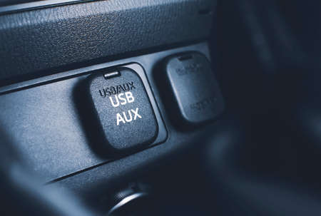 USB and AUX port connector on console panel in the car