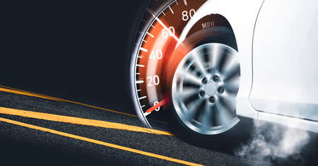 Race car start on track and burning tire,speedometer indicator sweeping to 60 mph,Double exposure concept and copy space