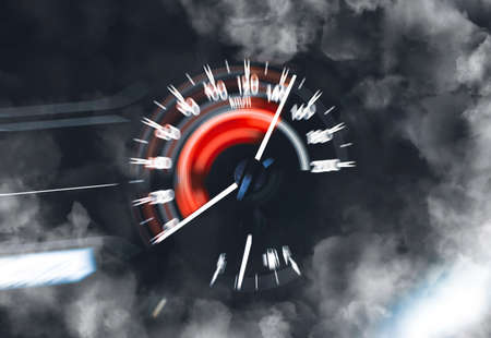 Car speedometer high performance and indicator sweeping to high power speed and smoke,double exposure automotive concept 版權商用圖片