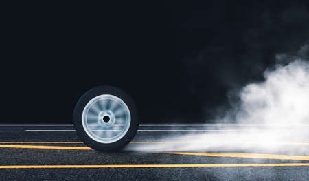Car wheel burn rubber with spin circle motion on the asphalt road and white smoke at night 版權商用圖片