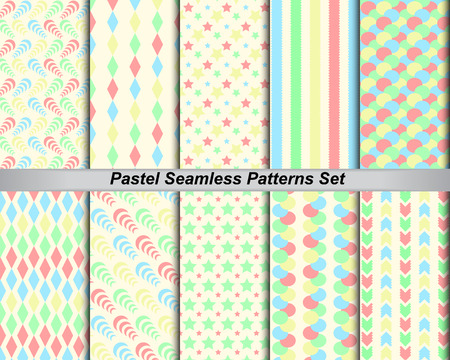 swatches: 10 set seamless pattern background colorful pastel  with swatches