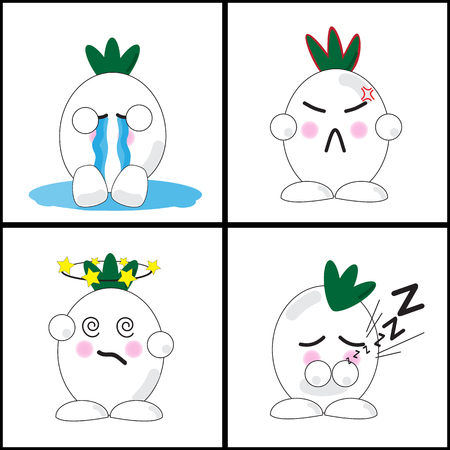Onion cartoon with four expressions Vector