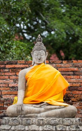 Ancient Buddha statue at Wat Yai Chaimongkol, Ayutthaya
