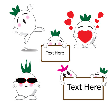 Onion cute cartoon with Five expressions emotion Vector