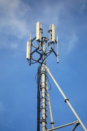 telecommunications equipment: Telecommunications equipment - directional mobile phone antenna dishes. Wireless communication. Stock Photo