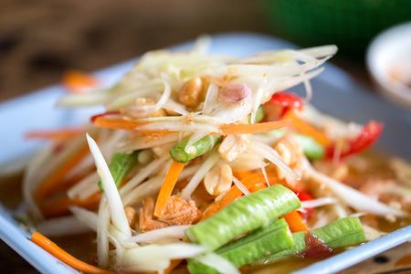 """sałatka papai Tajlandia żywności nazywają """"som tum tajski"""""""