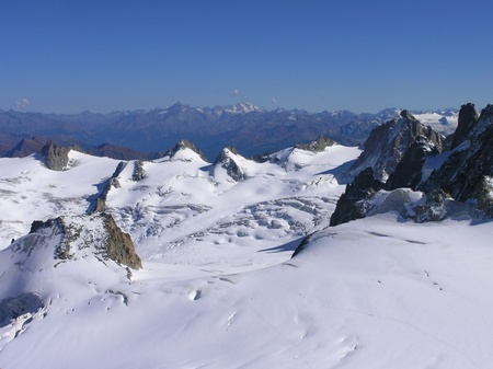Views of the glacier from the Aiguille du Midi photo