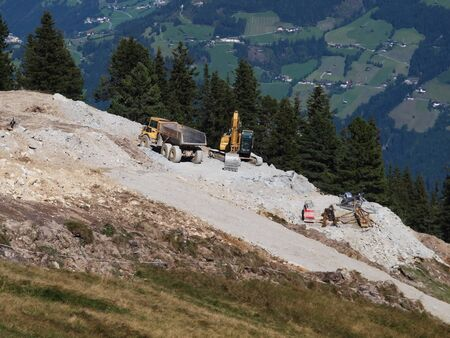 infrastructures: Construction site in the mountains
