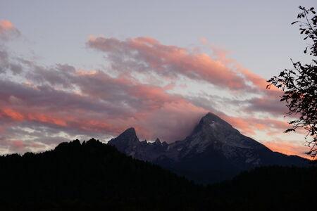 berchtesgaden: Watzmann with pink clouds in the evening Stock Photo