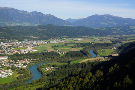spittal: View of the Drau at Spittal Stock Photo