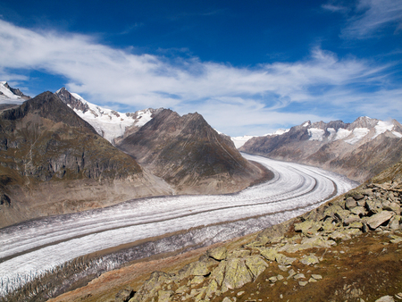 aletsch: Views of the Great Aletsch Glacier Stock Photo