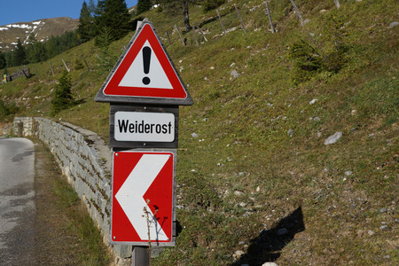 cattle grid: Traffic Sign Warning rust